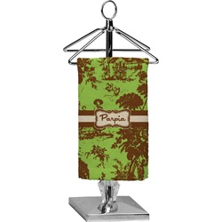 Green & Brown Toile Finger Tip Towel - Full Print (Personalized)