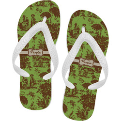 Green & Brown Toile Flip Flops (Personalized)