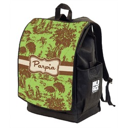 Green & Brown Toile Backpack w/ Front Flap  (Personalized)