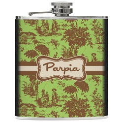 Green & Brown Toile Genuine Leather Flask (Personalized)
