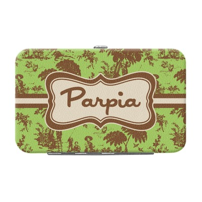 Green & Brown Toile Genuine Leather Small Framed Wallet (Personalized)