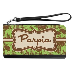 Green & Brown Toile Genuine Leather Smartphone Wrist Wallet (Personalized)
