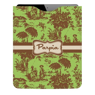 Green & Brown Toile Genuine Leather iPad Sleeve (Personalized)
