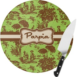 Green & Brown Toile Round Glass Cutting Board (Personalized)