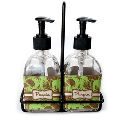 Green & Brown Toile Soap & Lotion Dispenser Set (Glass) (Personalized)