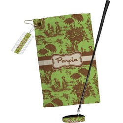 Green & Brown Toile Golf Towel Gift Set (Personalized)