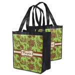 Green & Brown Toile Grocery Bag (Personalized)