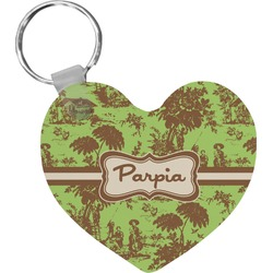 Green & Brown Toile Heart Keychain (Personalized)