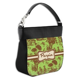 Green & Brown Toile Hobo Purse w/ Genuine Leather Trim (Personalized)