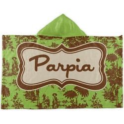 Green & Brown Toile Kids Hooded Towel (Personalized)