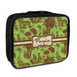 Green & Brown Toile Insulated Lunch Bag (Personalized)