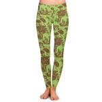Green & Brown Toile Ladies Leggings (Personalized)