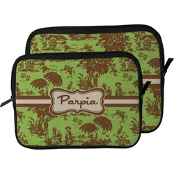 Green & Brown Toile Laptop Sleeve / Case (Personalized)