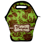 Green & Brown Toile Lunch Bag w/ Name or Text