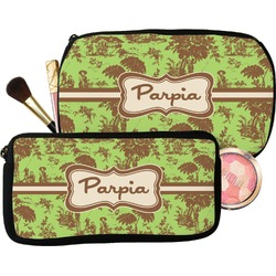 Green & Brown Toile Makeup / Cosmetic Bag (Personalized)