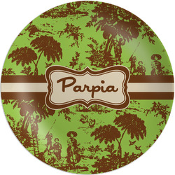 Green & Brown Toile Melamine Plate (Personalized)