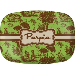 Green & Brown Toile Melamine Platter (Personalized)