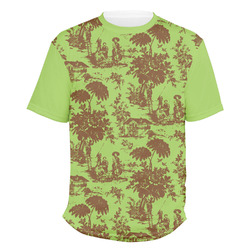 Green & Brown Toile Men's Crew T-Shirt (Personalized)