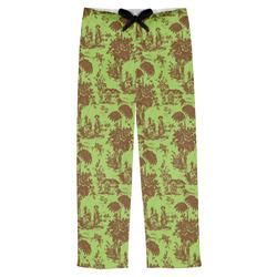 Green & Brown Toile Mens Pajama Pants (Personalized)