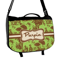 Green & Brown Toile Messenger Bag (Personalized)