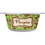 Green & Brown Toile Stainless Steel Dog Bowl (Personalized)