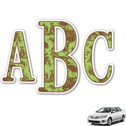 Green & Brown Toile Monogram Car Decal (Personalized)