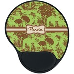 Green & Brown Toile Mouse Pad with Wrist Support