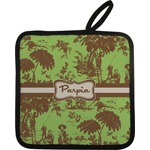 Green & Brown Toile Pot Holder w/ Name or Text