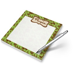 Green & Brown Toile Notepad (Personalized)