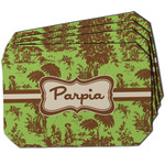 Green & Brown Toile Dining Table Mat - Octagon w/ Name or Text