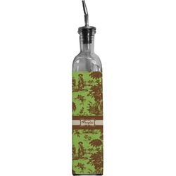 Green & Brown Toile Oil Dispenser Bottle (Personalized)