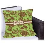 Green & Brown Toile Outdoor Pillow (Personalized)
