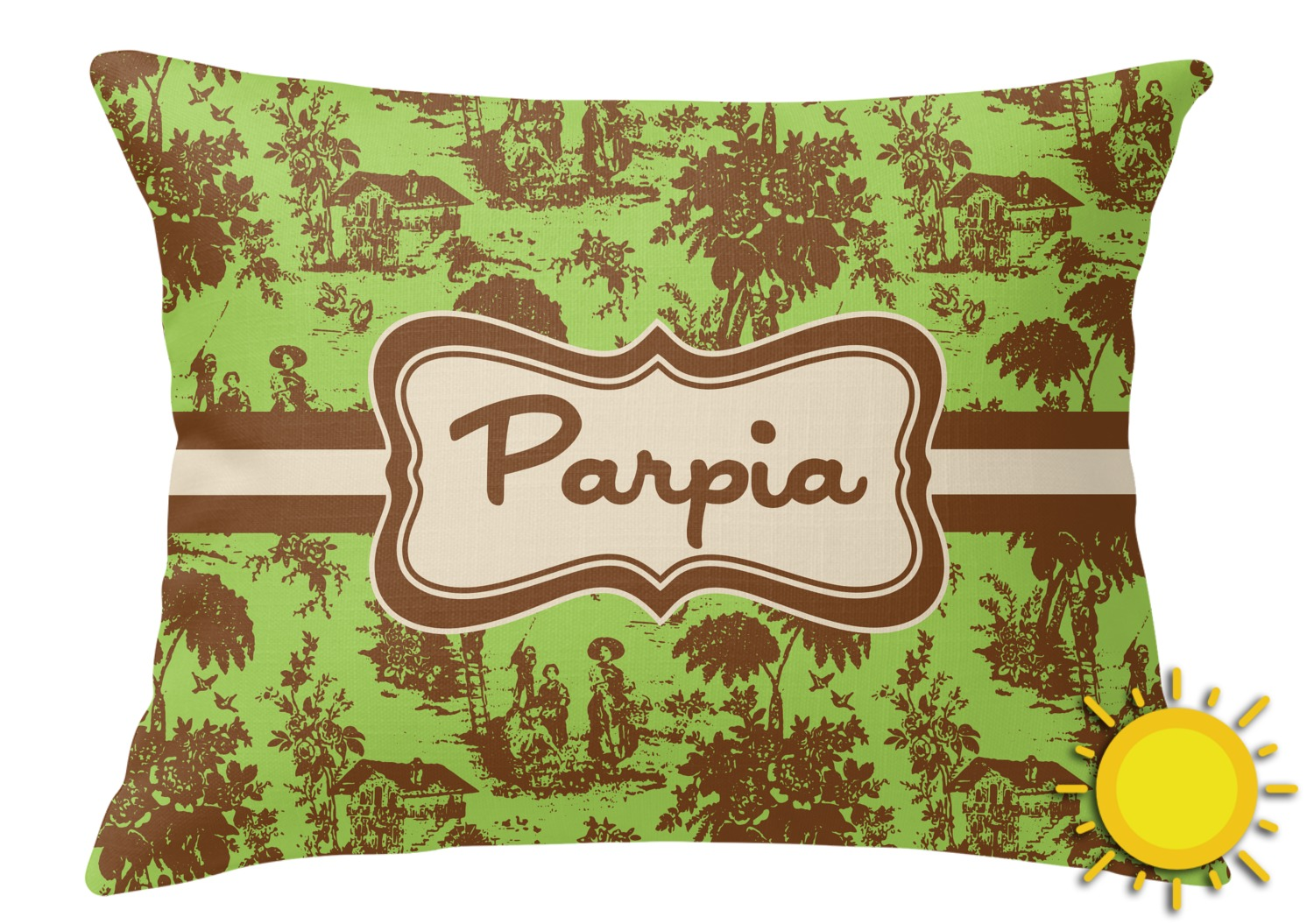 Brown Rectangular Throw Pillow : Green & Brown Toile Outdoor Throw Pillow (Rectangular) (Personalized) - RNK Shops