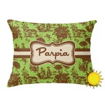 Green & Brown Toile Outdoor Throw Pillow (Rectangular) (Personalized)