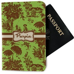 Green & Brown Toile Passport Holder - Fabric (Personalized)