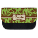 Green & Brown Toile Canvas Pencil Case w/ Name or Text