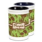 Green & Brown Toile Ceramic Pencil Holder - Large