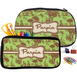 Green & Brown Toile Pencil / School Supplies Bag (Personalized)