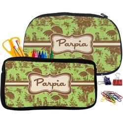 Green & Brown Toile Neoprene Pencil Case (Personalized)