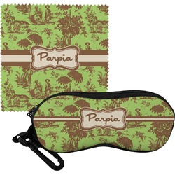 Green & Brown Toile Eyeglass Case & Cloth (Personalized)