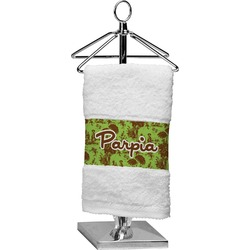 Green & Brown Toile Finger Tip Towel (Personalized)