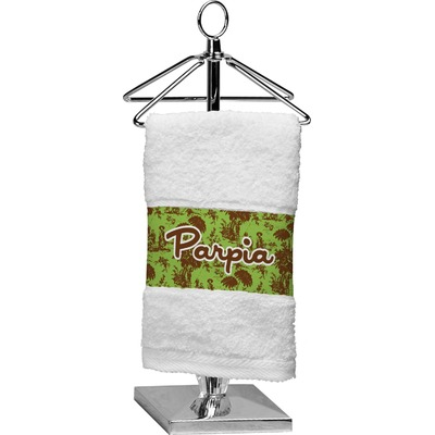 Green & Brown Toile Cotton Finger Tip Towel (Personalized)