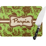 Green & Brown Toile Rectangular Glass Cutting Board (Personalized)