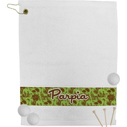 Green & Brown Toile Golf Towel (Personalized)