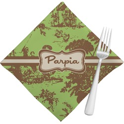 Green & Brown Toile Cloth Napkins (Set of 4) (Personalized)