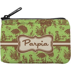 Green & Brown Toile Rectangular Coin Purse (Personalized)