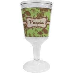 Green & Brown Toile Wine Tumbler - 11 oz Plastic (Personalized)