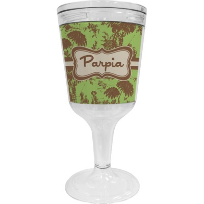 Green & Brown Toile Wine Tumbler - 11 oz Plastic (Personalized)
