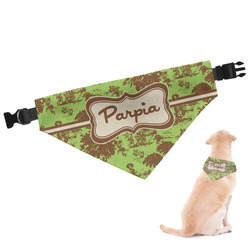 Green & Brown Toile Dog Bandana (Personalized)