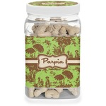 Green & Brown Toile Dog Treat Jar (Personalized)